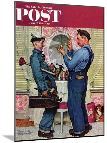 """""""Plumbers"""" Saturday Evening Post Cover, June 2,1951-Norman Rockwell-Mounted Giclee Print"""