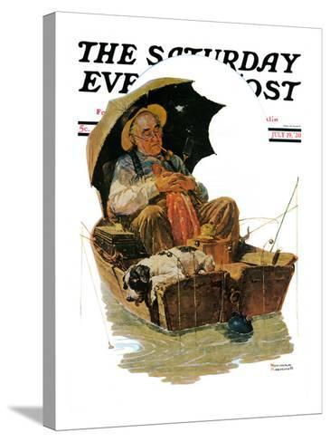 """""""Gone Fishing"""" Saturday Evening Post Cover, July 19,1930-Norman Rockwell-Stretched Canvas Print"""