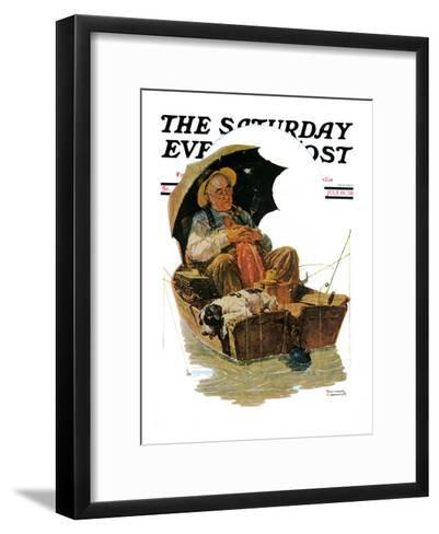 """Gone Fishing"" Saturday Evening Post Cover, July 19,1930-Norman Rockwell-Framed Art Print"