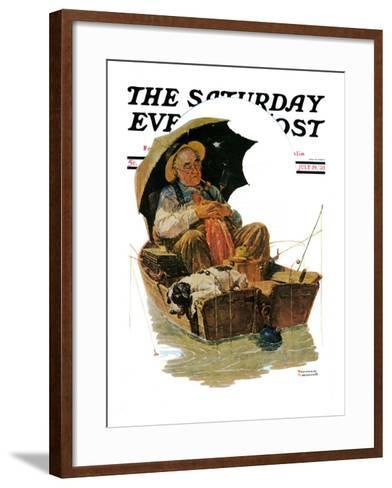 """""""Gone Fishing"""" Saturday Evening Post Cover, July 19,1930-Norman Rockwell-Framed Art Print"""