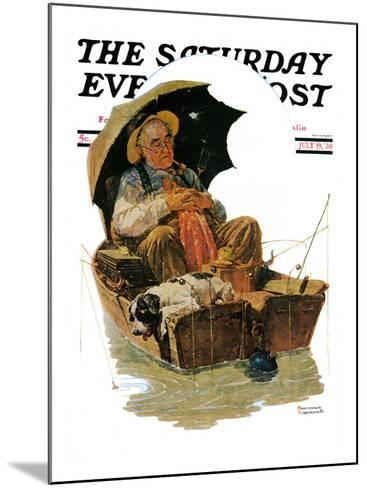 """""""Gone Fishing"""" Saturday Evening Post Cover, July 19,1930-Norman Rockwell-Mounted Giclee Print"""