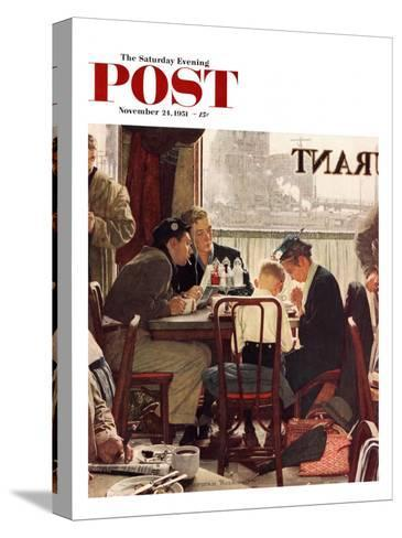 """Saying Grace"" Saturday Evening Post Cover, November 24,1951-Norman Rockwell-Stretched Canvas Print"