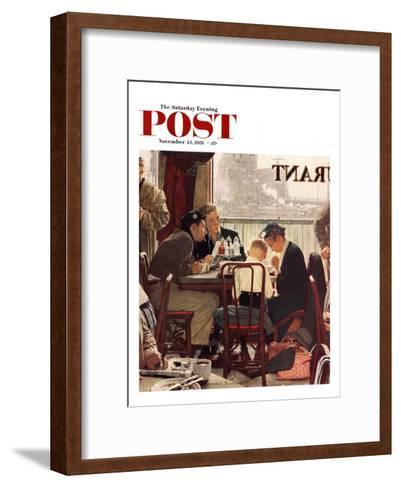 """Saying Grace"" Saturday Evening Post Cover, November 24,1951-Norman Rockwell-Framed Art Print"