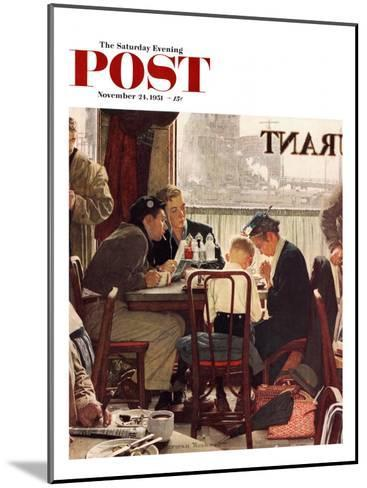"""Saying Grace"" Saturday Evening Post Cover, November 24,1951-Norman Rockwell-Mounted Giclee Print"