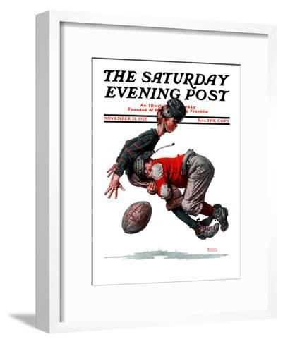 """""""Fumble"""" or """"Tackled"""" Saturday Evening Post Cover, November 21,1925-Norman Rockwell-Framed Art Print"""