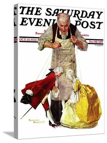 """""""Marionettes"""" Saturday Evening Post Cover, October 22,1932-Norman Rockwell-Stretched Canvas Print"""