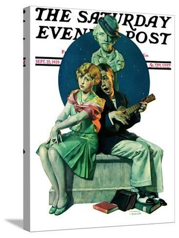 """""""Serenade"""" Saturday Evening Post Cover, September 22,1928-Norman Rockwell-Stretched Canvas Print"""