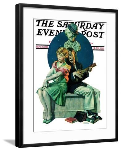 """Serenade"" Saturday Evening Post Cover, September 22,1928-Norman Rockwell-Framed Art Print"