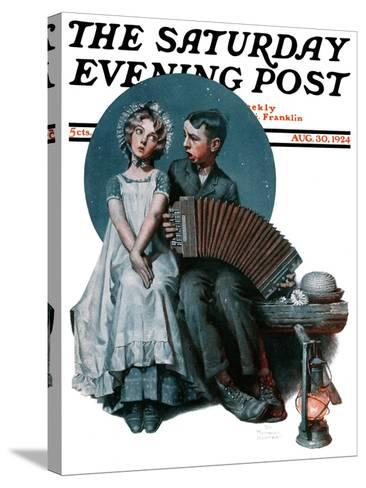 """""""Accordionist"""" or """"Serenade"""" Saturday Evening Post Cover, August 30,1924-Norman Rockwell-Stretched Canvas Print"""