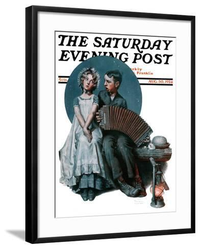 """""""Accordionist"""" or """"Serenade"""" Saturday Evening Post Cover, August 30,1924-Norman Rockwell-Framed Art Print"""