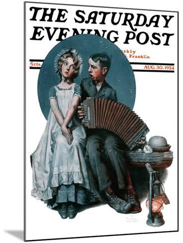 """""""Accordionist"""" or """"Serenade"""" Saturday Evening Post Cover, August 30,1924-Norman Rockwell-Mounted Giclee Print"""