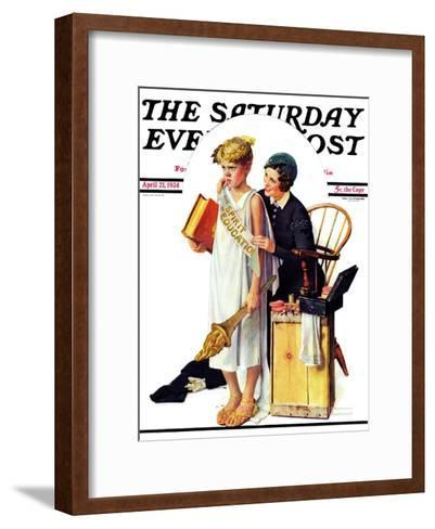 """Spirit of Education"" Saturday Evening Post Cover, April 21,1934-Norman Rockwell-Framed Art Print"