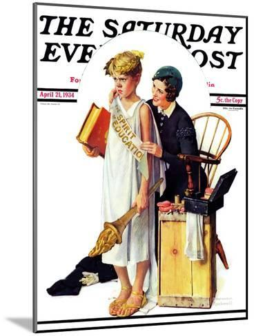 """Spirit of Education"" Saturday Evening Post Cover, April 21,1934-Norman Rockwell-Mounted Giclee Print"
