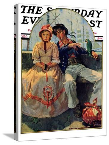 """Yarn Spinner"" Saturday Evening Post Cover, November 8,1930-Norman Rockwell-Stretched Canvas Print"