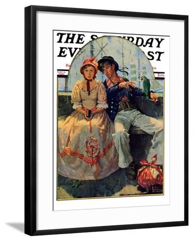 """Yarn Spinner"" Saturday Evening Post Cover, November 8,1930-Norman Rockwell-Framed Art Print"