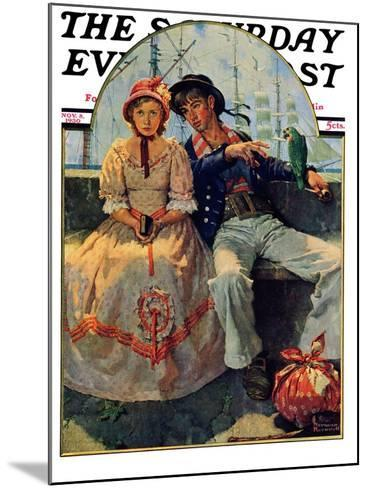 """Yarn Spinner"" Saturday Evening Post Cover, November 8,1930-Norman Rockwell-Mounted Giclee Print"