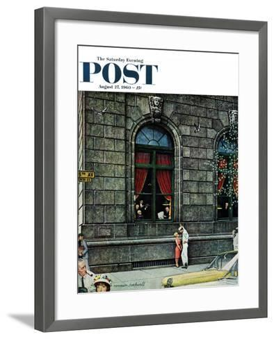 """University Club"" Saturday Evening Post Cover, August 27,1960-Norman Rockwell-Framed Art Print"