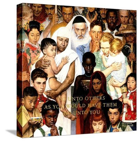 """Golden Rule"" (Do unto others), April 1,1961-Norman Rockwell-Stretched Canvas Print"
