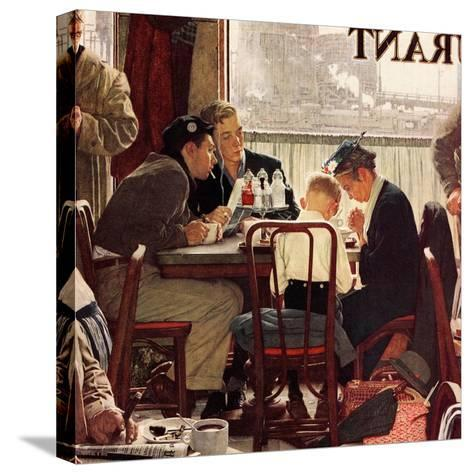 """""""Saying Grace"""", November 24,1951-Norman Rockwell-Stretched Canvas Print"""