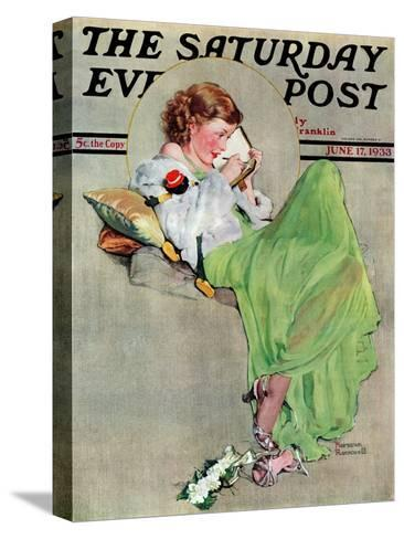 """""""Diary"""" Saturday Evening Post Cover, June 17,1933-Norman Rockwell-Stretched Canvas Print"""