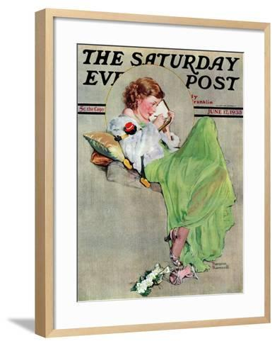 """""""Diary"""" Saturday Evening Post Cover, June 17,1933-Norman Rockwell-Framed Art Print"""