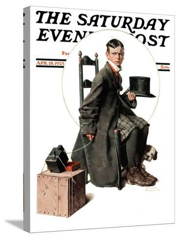 """""""Boy Taking His Self-Portrait"""" Saturday Evening Post Cover, April 18,1925-Norman Rockwell-Stretched Canvas Print"""
