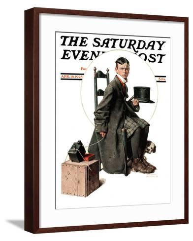 """""""Boy Taking His Self-Portrait"""" Saturday Evening Post Cover, April 18,1925-Norman Rockwell-Framed Art Print"""