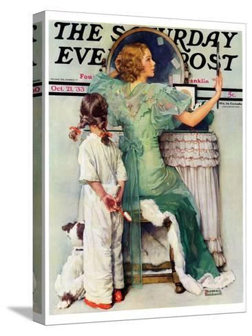 """""""Going Out"""" Saturday Evening Post Cover, October 21,1933-Norman Rockwell-Stretched Canvas Print"""