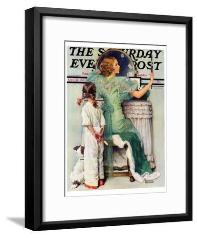 """""""Going Out"""" Saturday Evening Post Cover, October 21,1933-Norman Rockwell-Framed Art Print"""