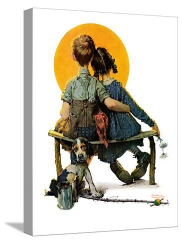 """""""Little Spooners"""" or """"Sunset"""", April 24,1926-Norman Rockwell-Stretched Canvas Print"""