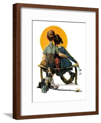 """Little Spooners"" or ""Sunset"", April 24,1926-Norman Rockwell-Framed Art Print"