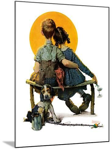 """""""Little Spooners"""" or """"Sunset"""", April 24,1926-Norman Rockwell-Mounted Giclee Print"""