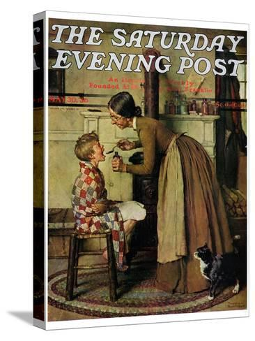 """""""Medicine Giver"""" """"Take Your Medicine"""" Saturday Evening Post Cover, May 30,1936-Norman Rockwell-Stretched Canvas Print"""