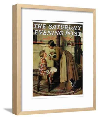 """""""Medicine Giver"""" """"Take Your Medicine"""" Saturday Evening Post Cover, May 30,1936-Norman Rockwell-Framed Art Print"""