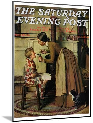 """""""Medicine Giver"""" """"Take Your Medicine"""" Saturday Evening Post Cover, May 30,1936-Norman Rockwell-Mounted Giclee Print"""