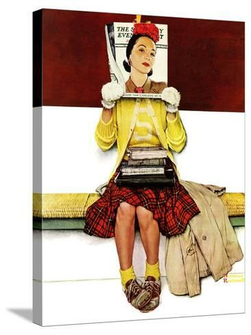 """""""Cover Girl"""", March 1,1941-Norman Rockwell-Stretched Canvas Print"""