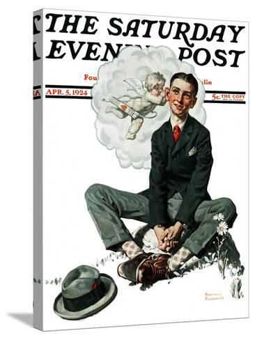 """""""Cupid's Visit"""" Saturday Evening Post Cover, April 5,1924-Norman Rockwell-Stretched Canvas Print"""