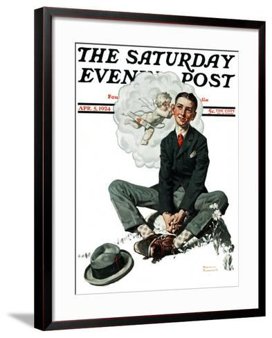 """""""Cupid's Visit"""" Saturday Evening Post Cover, April 5,1924-Norman Rockwell-Framed Art Print"""