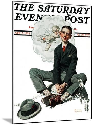 """""""Cupid's Visit"""" Saturday Evening Post Cover, April 5,1924-Norman Rockwell-Mounted Giclee Print"""