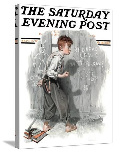 """""""Redhead Loves Hatti"""" Saturday Evening Post Cover, September 16,1916-Norman Rockwell-Stretched Canvas Print"""
