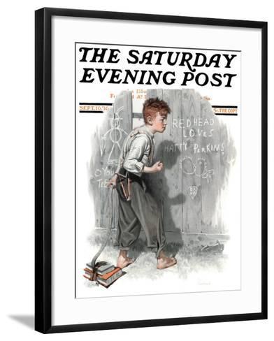 """Redhead Loves Hatti"" Saturday Evening Post Cover, September 16,1916-Norman Rockwell-Framed Art Print"