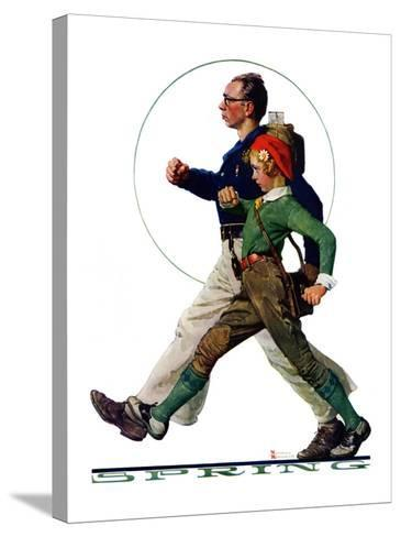 """""""Hikers"""", May 5,1928-Norman Rockwell-Stretched Canvas Print"""