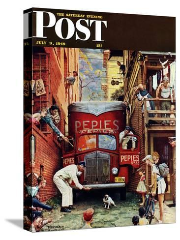 """""""Road Block"""" Saturday Evening Post Cover, July 9,1949-Norman Rockwell-Stretched Canvas Print"""