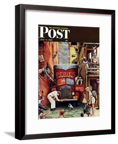 """""""Road Block"""" Saturday Evening Post Cover, July 9,1949-Norman Rockwell-Framed Art Print"""