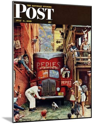 """""""Road Block"""" Saturday Evening Post Cover, July 9,1949-Norman Rockwell-Mounted Giclee Print"""
