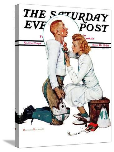 """Letter Sweater"" (boy & girl) Saturday Evening Post Cover, November 19,1938-Norman Rockwell-Stretched Canvas Print"