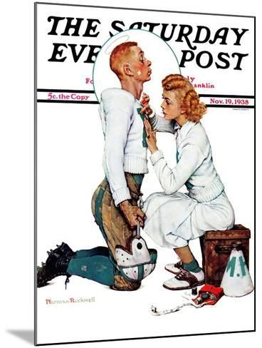 """Letter Sweater"" (boy & girl) Saturday Evening Post Cover, November 19,1938-Norman Rockwell-Mounted Giclee Print"