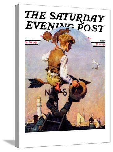 """On Top of the World"" Saturday Evening Post Cover, October 20,1934-Norman Rockwell-Stretched Canvas Print"