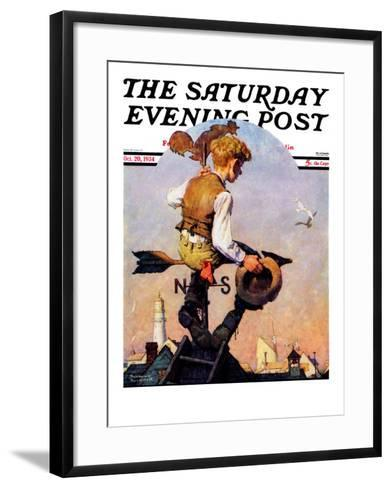 """On Top of the World"" Saturday Evening Post Cover, October 20,1934-Norman Rockwell-Framed Art Print"