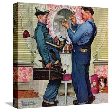 """""""Plumbers"""", June 2,1951-Norman Rockwell-Stretched Canvas Print"""